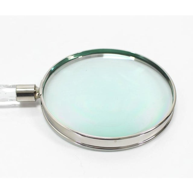 Crystal Very large Cut Crystal Handle Magnifying Glass Rare Fancy For Sale - Image 7 of 10
