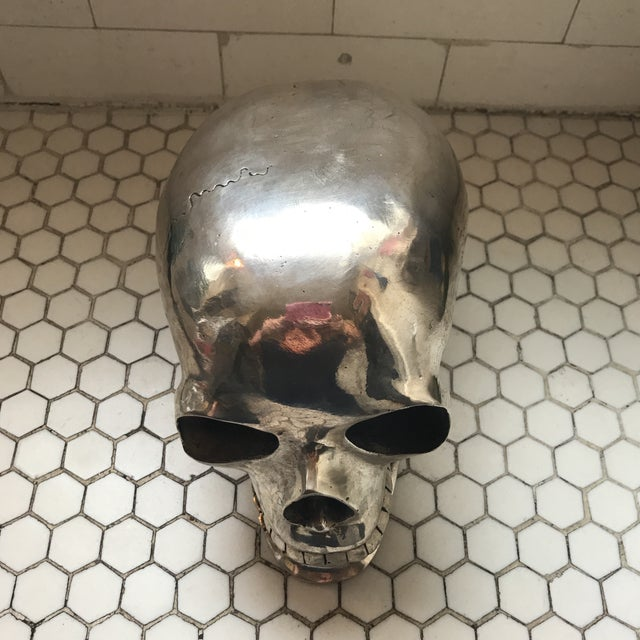 Large Vintage Silver Metal Skull - Image 3 of 11