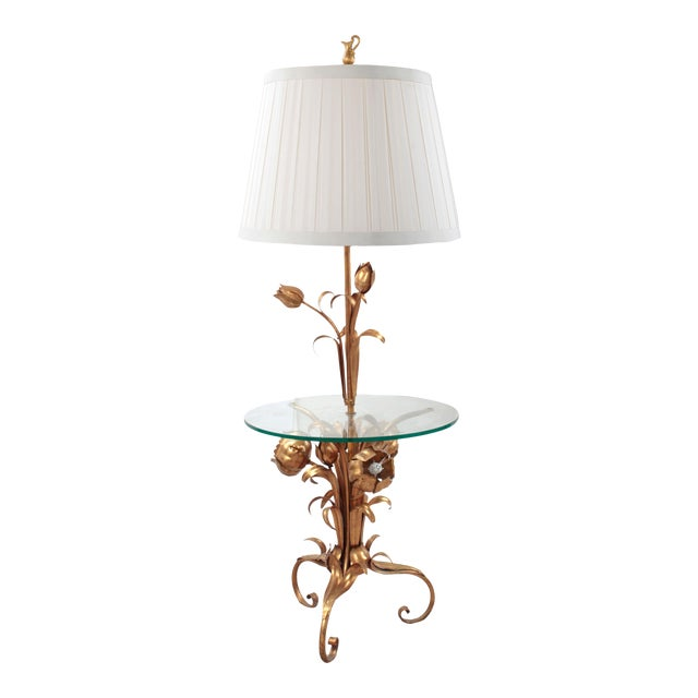 60s Italian Gold Gilt Tole Floor Lamp With Glass Table Top by Hans Kögl For Sale