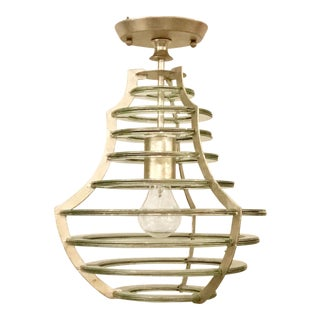 Modern Currey & Co. Mirrored Cascading Silver Disc Lantern For Sale