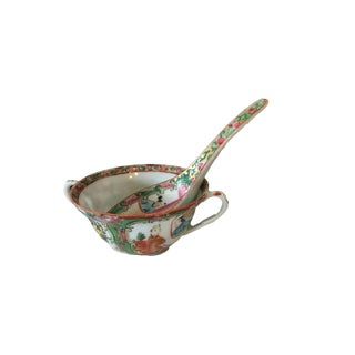 Antique Rose Medallion Porcelain Cups & Spoon