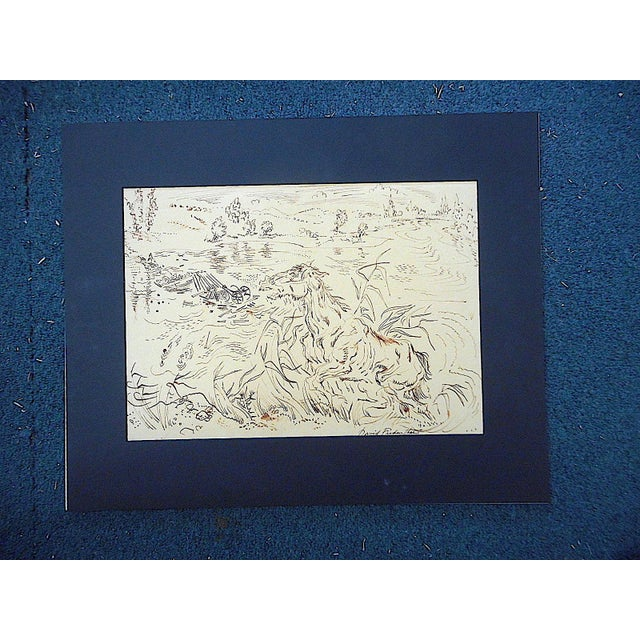 This captivating original signed sepia drawing by the famous fine artist, illustrator and journalist David Fredenthal...