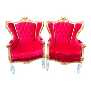 French Louis XVI Style Red Tufted Velvet With Gold Chairs - a Pair For Sale