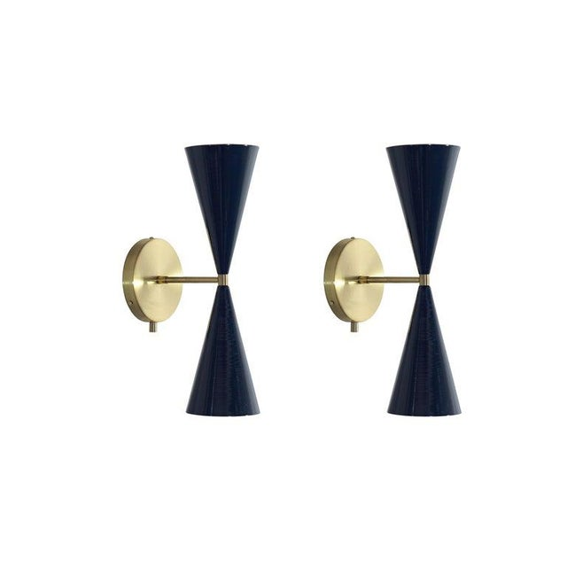 "Brass & Midnight Enamel ""Tuxedo"" Wall Sconces - a Pair For Sale - Image 12 of 12"