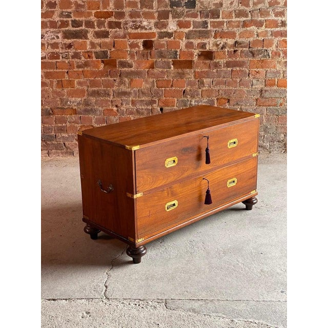 1850 Antique Campaign Teak Chest of Drawers For Sale - Image 4 of 13