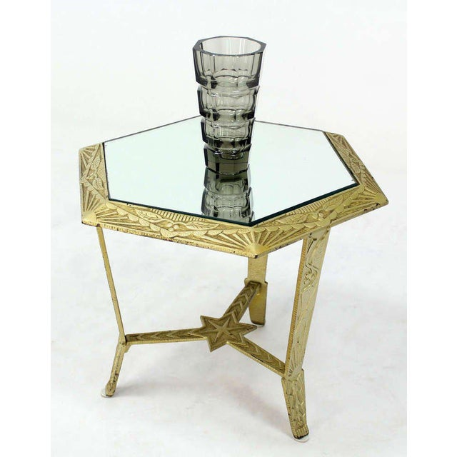 Gold Mid-Century Modern, Hexagon-Top and Star Base Side or Occasional Table For Sale - Image 8 of 10