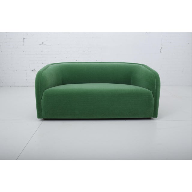 Fully restored 1980's post-modern settee. Reupholstered in green mohair. Matching sofa available in separate listing.