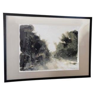 Signed Ink Wash Landscape Painting For Sale