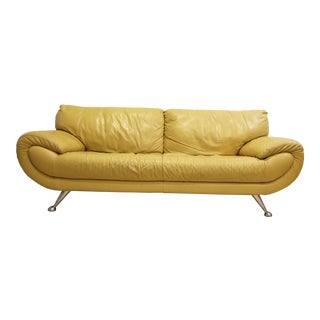Modern Nicoletti Home Italian Yellow Leather Sofa For Sale