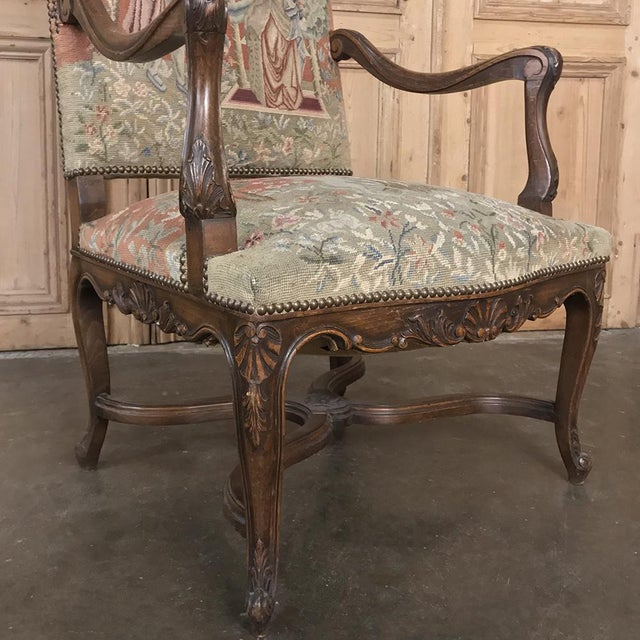 19th Century French Louis XV Armchair With Tapestry For Sale In Dallas - Image 6 of 13