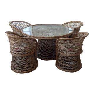 Bohemian Wicker Round Glass Table and Bucket Chairs - Set of 5