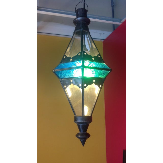 Boho Chic Stained Glass Pendant Lamps - Set of 3 - Image 6 of 6