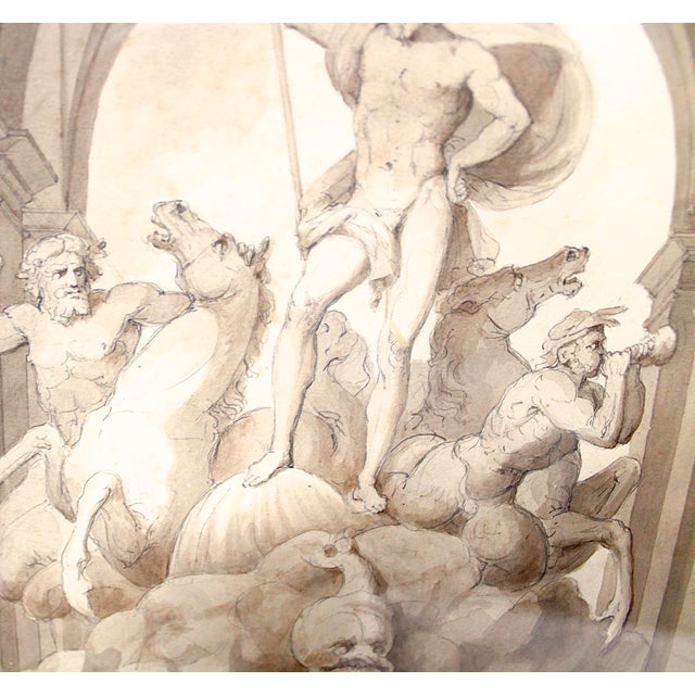 1838 Palazzo Torlonia, Rome Grisaille Neptune Fountain Watercolor Painting For Sale - Image 10 of 11