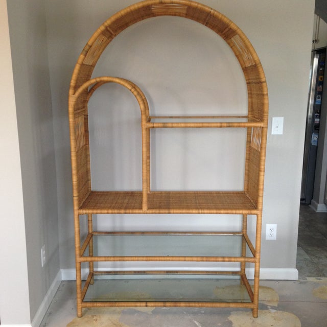 Mid-Century Rattan & Glass Etagere / Bookcase - Image 2 of 8