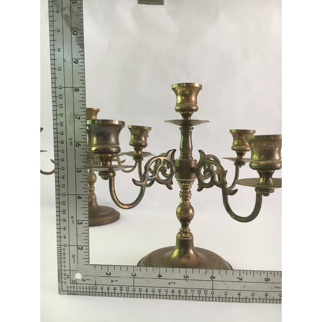 Vintage Solid Brass 5 Light Candelabras - A Pair - Image 5 of 5