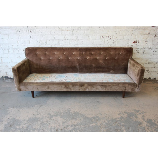 Baker Furniture Mid-Century Tufted Brown Velvet Sofa For Sale In South Bend - Image 6 of 12