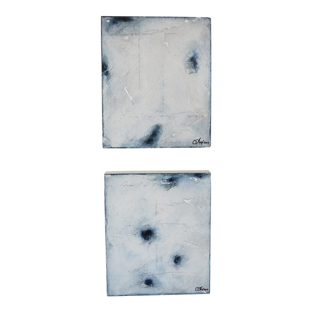 """Ambient Indigo"" Original Oil & Pastel Paintings - a Pair by C. Damien Fox 2017 - Image 1 of 9"