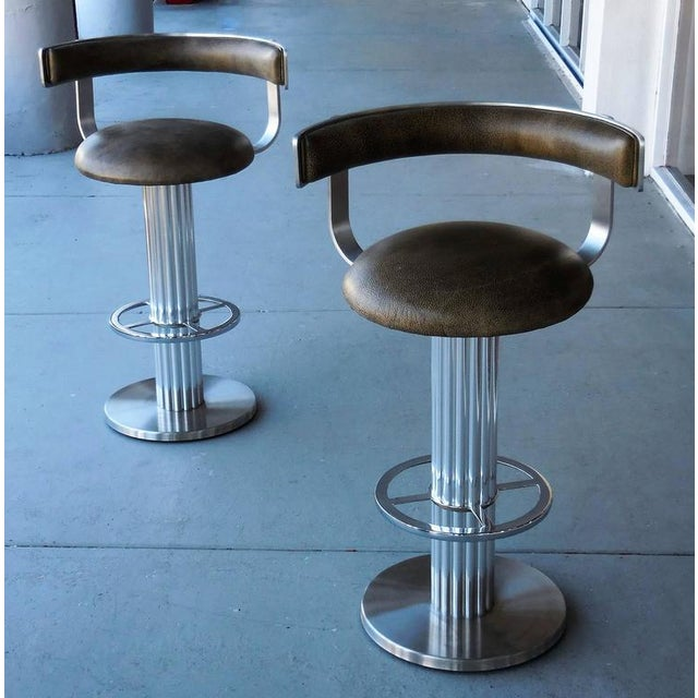 Modern A Pair of Design For Leisure Swivel Leather Bar Stools For Sale - Image 3 of 7