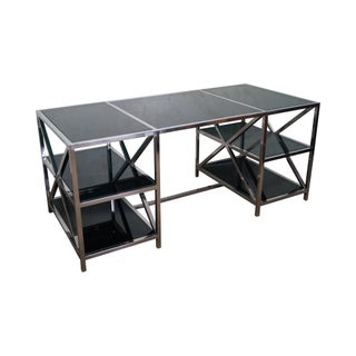 Chrome Double Pedestal Smoke Glass Desk
