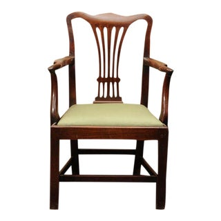 Georgian Mahogany Armchair with drop seat For Sale