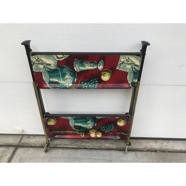Brick Red 1960s German Still Life Print Bar Cart For Sale - Image 8 of 13