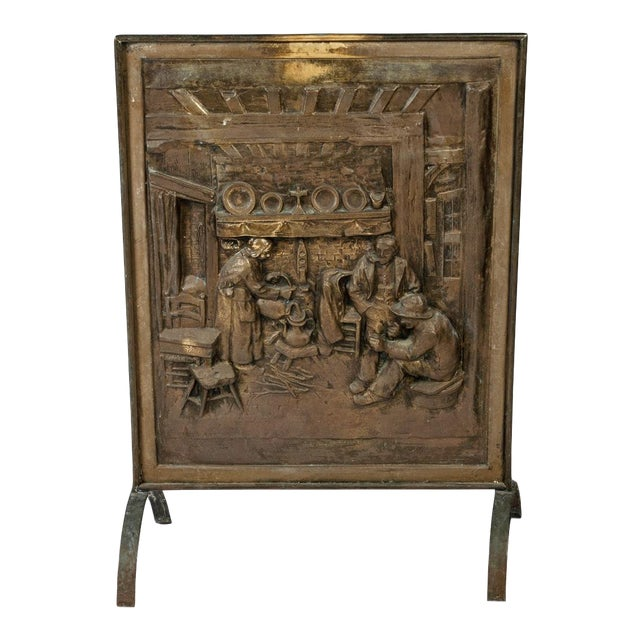 1900s Antique English Brass Fireplace Screen For Sale