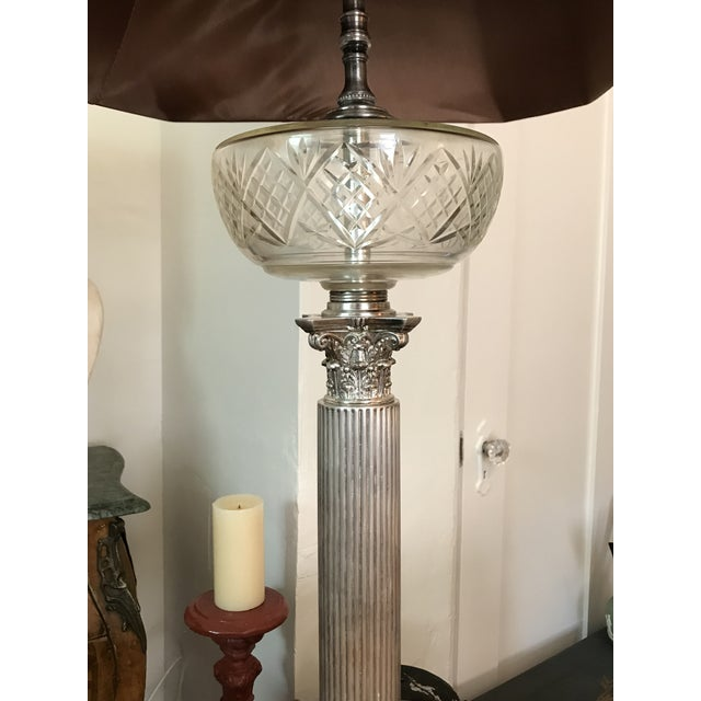 Victorian Silverplated Oil Table Lamp For Sale - Image 4 of 9