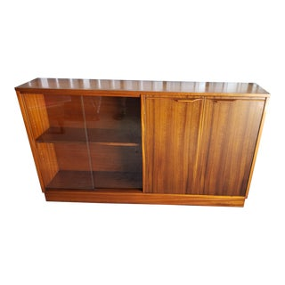 1960's Mid-Century Modern Teak Credenza Console Bookcase Cabinet For Sale
