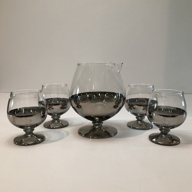 Transparent Mid Century Platinum Ombre Decanter and Snifter Glasses - Set of Five For Sale - Image 8 of 9