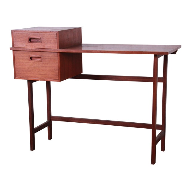 Swedish Modern Petite Teak Vanity Desk or Console Hall Table by Glas & Trä For Sale