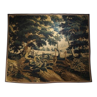 17th Century Antique Wool and Silk Verdure Bleue Tapestry For Sale