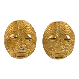 French Designer Signed Gilt Metal Tribal Mask Clip on Earrings For Sale