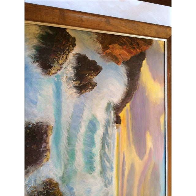 "Nautical ""Sunset on the Ocean"" Painting For Sale - Image 3 of 5"