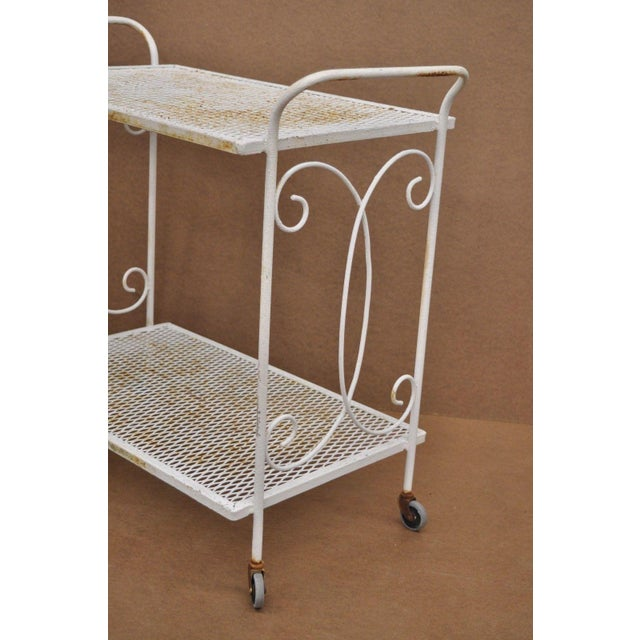 Vintage Wrought Iron Metal Mesh Patio Tea Cart For Sale - Image 4 of 12