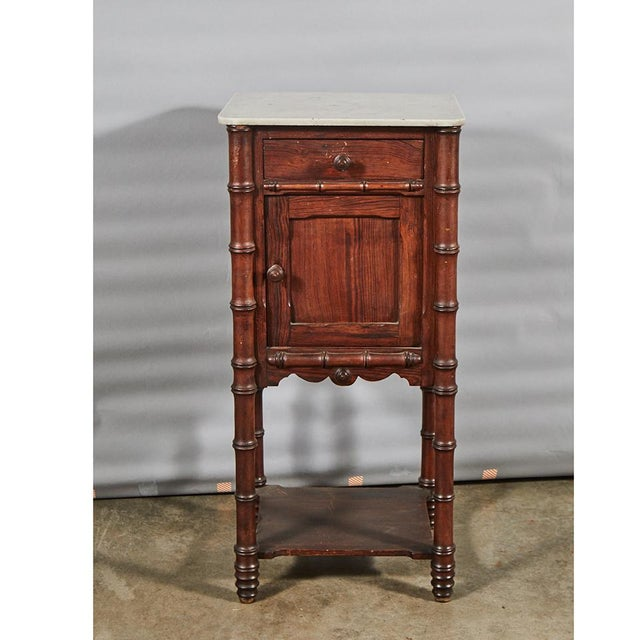 Wood Faux Bamboo Nightstand For Sale - Image 7 of 8