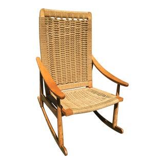 1970s Hans Wegner Style Mid-Century Swedish Rope Rocking Chair For Sale