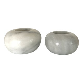 Vintage Modernist Marble Sphere Candle Holders- a Pair For Sale