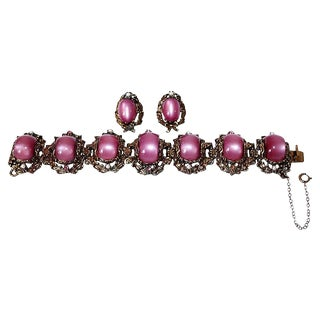 Fuchsia Thermoset Bracelet & Earrings For Sale