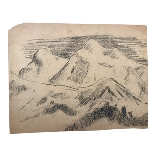1930s Vintage Mountain Drawing by Eliot Clark For Sale