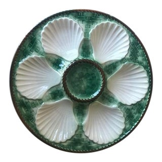C. 1940s Vintage Chantilly French Majolica Oyster Plate For Sale