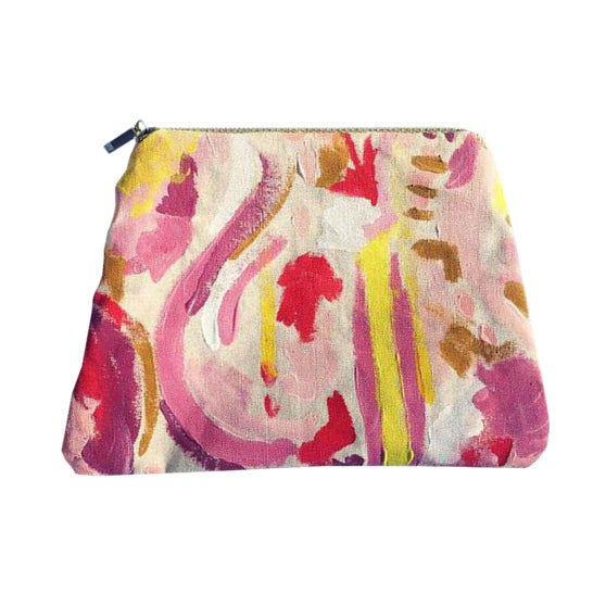 """""""Painted Lady Pouch"""" Hand Painted Abstract Purse For Sale In Atlanta - Image 6 of 6"""