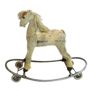 Unique Antique Children's Toy Horse on Wheels For Sale