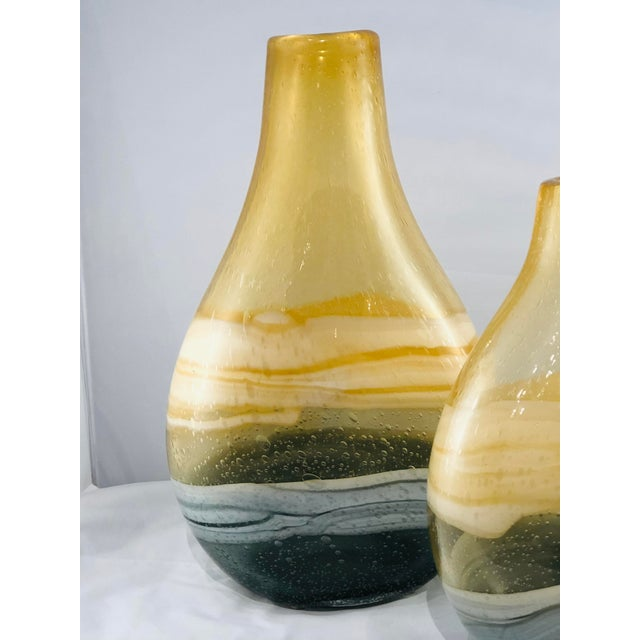Abstract Blown Glass Vases - a Pair For Sale - Image 3 of 11