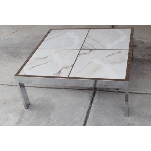 1960s Mid Century Modern Dia Chrome And Marble Coffee Table Chairish
