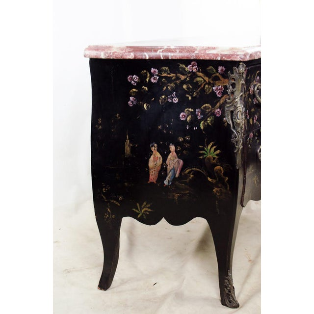 Asian 20th C. French Louis XV Style Chinoiserie Marble Top Bombe Commode For Sale - Image 3 of 13