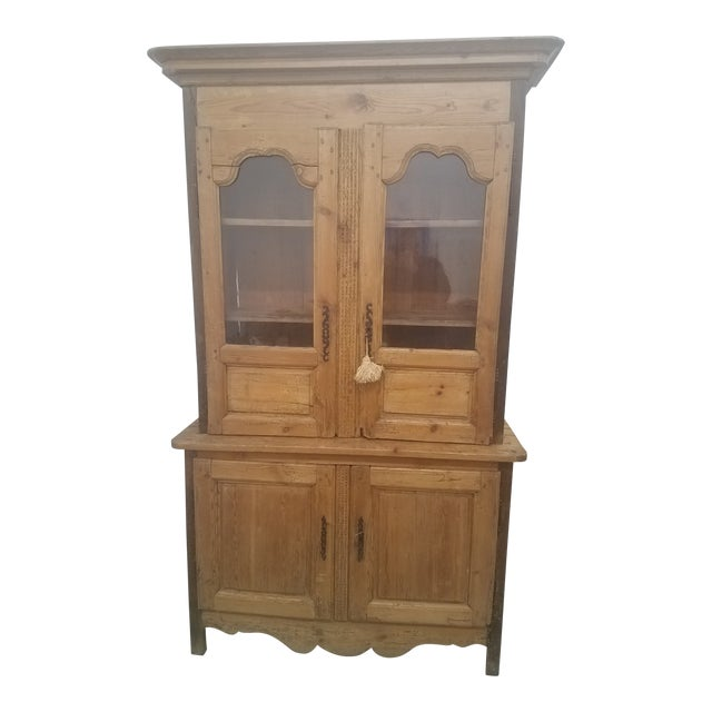 Primitive Antique Pine Cupboard - Made in France For Sale