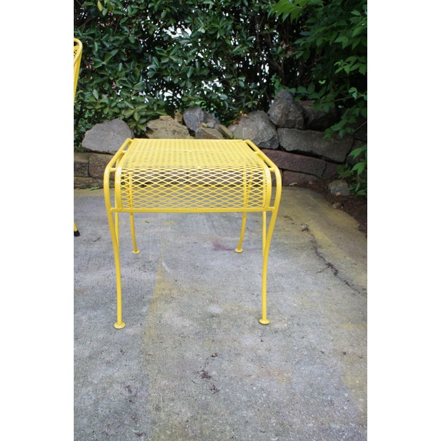 Mid Century Modern Buttercup Yellow Wrought Iron Patio Dining Set- 6 Pieces For Sale In Washington DC - Image 6 of 13