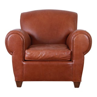 Art Deco Style Brown Leather Club Chair by Mitchell Gold For Sale