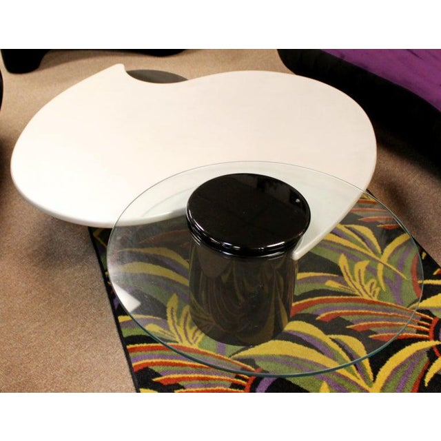 Glass Postmodern Modernist Rougier Articulating 3-Tier Coffee Table, 1980s For Sale - Image 7 of 11