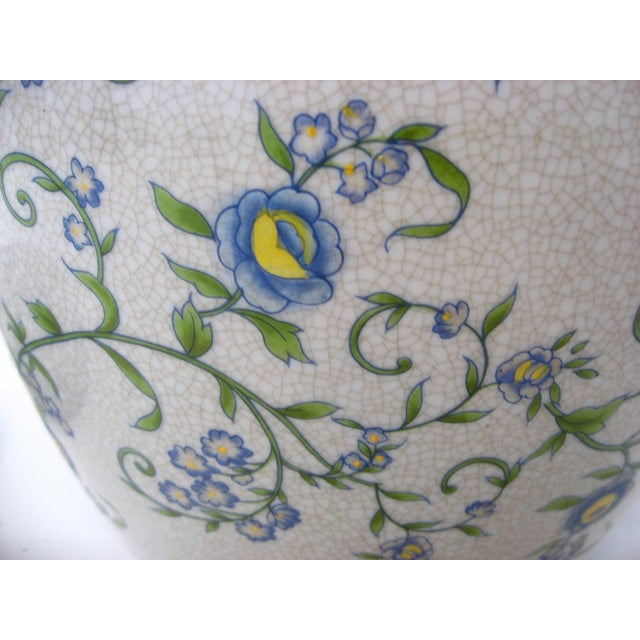 Late 20th Century Gray Floral Ginger Jar For Sale - Image 5 of 6